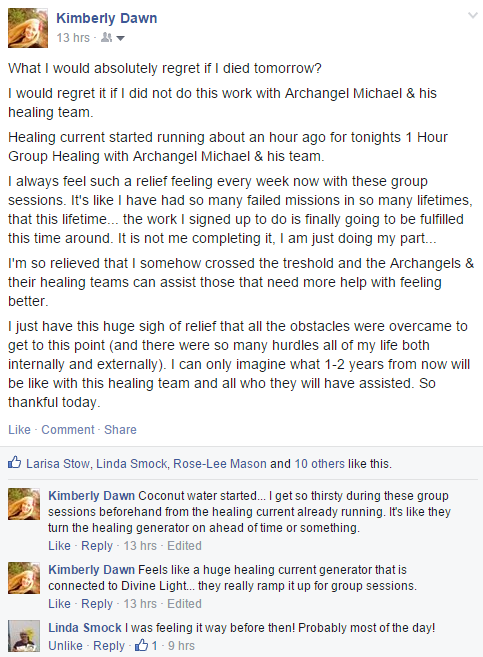 Facebook post about Sunday's group healings