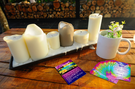 Archangel Oracle Cards Coffee Table with Candles