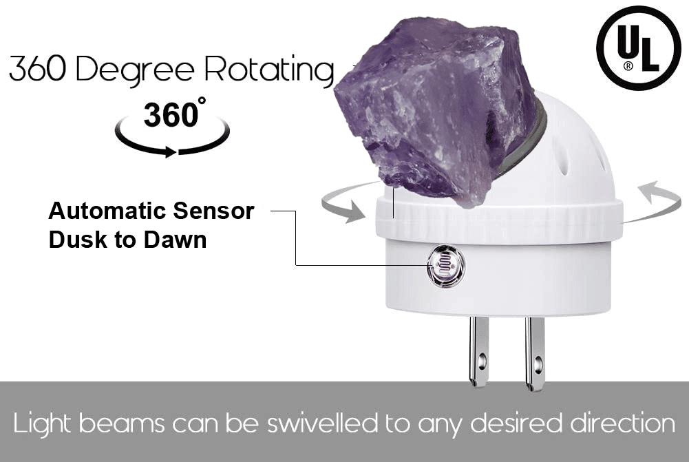 *SALE* Amethyst LED Night Light, Gemstone Light, Healing Crystal, Crystal Night Light, Natural Crystal, Dusk to Dawn Sensor, Wall Plug Night Light